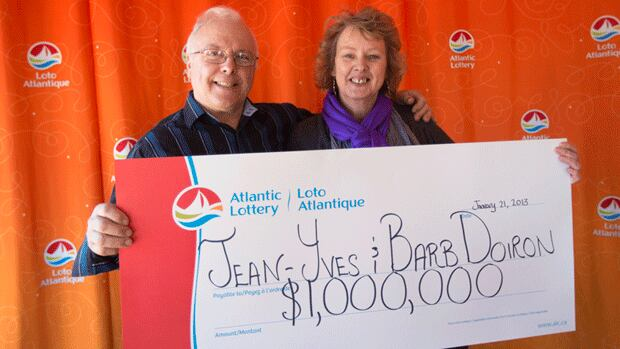 Jean-Yves Doiron and his wife Barbara picked up their winnings in Moncton on Monday.