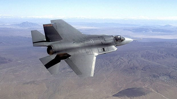 A pre-production model of the F-35 Joint Strike Fighter is shown in this file photo. A U.S. government watchdog says the estimated cost of the F-35A model that Canada is buying is 'in the low 100 millions.' Northrop Grumman/Associated Press