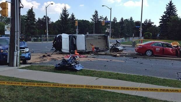 A man died and his daughter was sent to hospital in critical condition after this crash involving a stolen taxi cab on Monday.