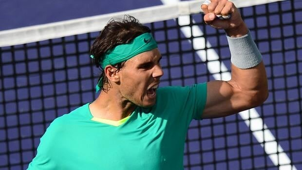 Rafael Nadal celebrates winning a point against Juan Martin Del Potro during the BNP Paribas Open final.