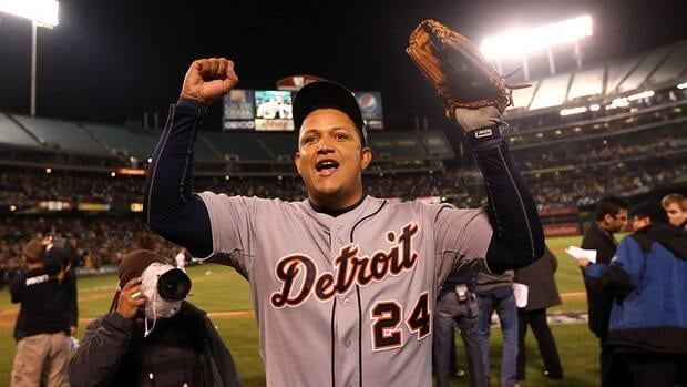 In this photo, Miguel Cabrera of the Detroit Tigers celebrates as he walks off the field after the Detroit Tigers beat the Oakland Athletics in Game Five of the American League Division Series at Oakland-Alameda County Coliseum on October 9, 2012 in Oakland, California.
