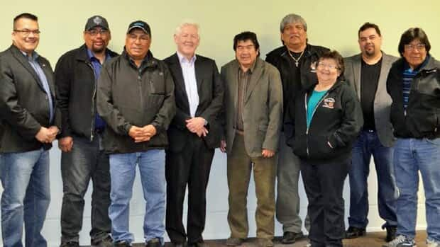 The Matawa Chiefs Council has announced it will stop a legal challenge to the federal environmental assessment of the Cliffs chromite project in the Ring of Fire. Pictured here in a file photo are, from left to right, Chief Johnny Yellowhead-Nibinamik First Nation, Chief Harry Papah-Eabametoong First Nation, Chief Cornelius Wabasse, Webequie First Nation, The Honorable Bob Rae, Chief Allan Towegishig-Long Lake #58, Chief Sonny Gagnon-Aroland First Nation, Chief Celia Echum-Ginoogaming First Nation, Chief Roger Wesley-Constance Lake First Nation, and Chief Peter Moonias-Neskantaga First Nation.