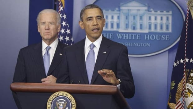 U.S. President Barack Obama and Vice-President Joe Biden makes a statement regarding the passage of the fiscal cliff bill on Tuesday.