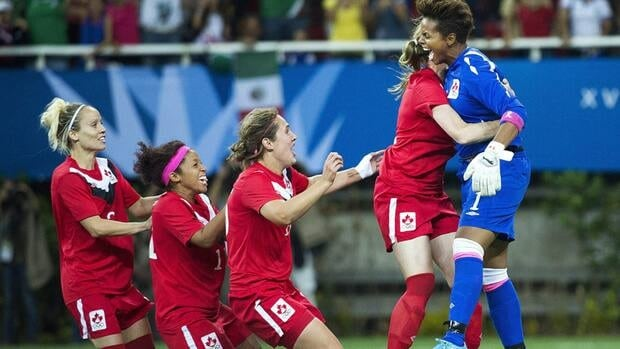 Canada's goalkeeper Karina Leblanc, right, reacts after making the winning shoot out save against Brazil to win the gold medal during women's soccer action during the 2011 Pan Am Games in Guadalajara, Mexico in 2011. Hamilton will be hosting all the soccer events for the 2015 games.