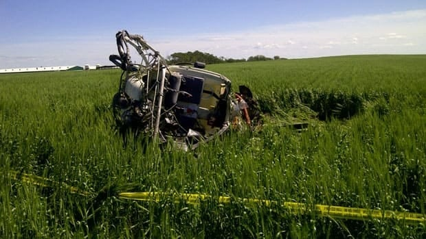 This helicopter crashed in a field south of Silverton, Man., at around 11 a.m. CT on Wednesday. The male pilot is currently in hospital, according to police.