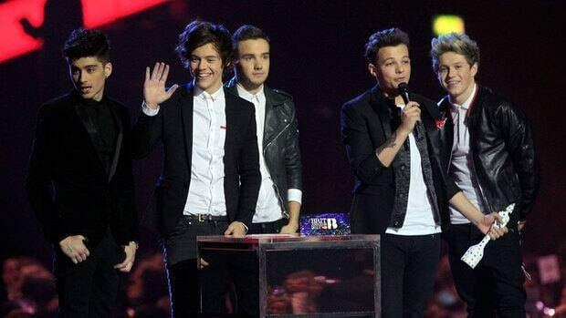 Zayn Malik, Harry Styles, Liam Payne, Louis Tomlinson and Niall Horan of British band One Direction at the BRIT Awards at the O2 Arena in London.