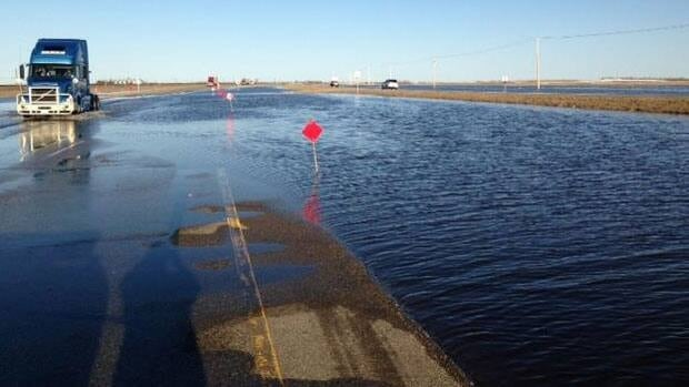 Water was running across the Trans-Canada Highway this weekend about 15 kilometres west of Indian Head.