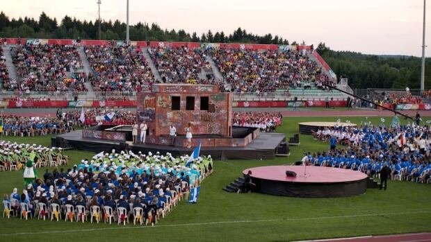 Athletes take part in the opening ceremonies of the Canada Summer Games Friday in Sherbrooke, Que.