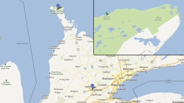 A Google map showing Bruce Peninsula National Park in relation to Waterloo Region. 15 teenagers from a local school are missing on a school hiking trip in the park. Inset: High Dump, the area of the park the OPP started their search in.