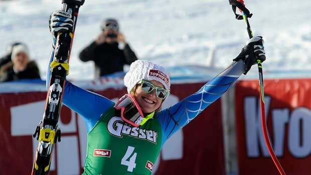 Alice McKennis of US celebrates in finish area of the women's World Cup downill in St. Anton, Austria on Saturday. McKennis won the event, ahead of Daniela Merighetti of Italy and Austrian Anna Fenninger.