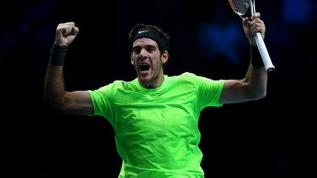 Juan Martin Del Potro celebrates match point against Roger Federer during day six of the ATP World Tour Finals at O2 Arena on November 10, 2012.