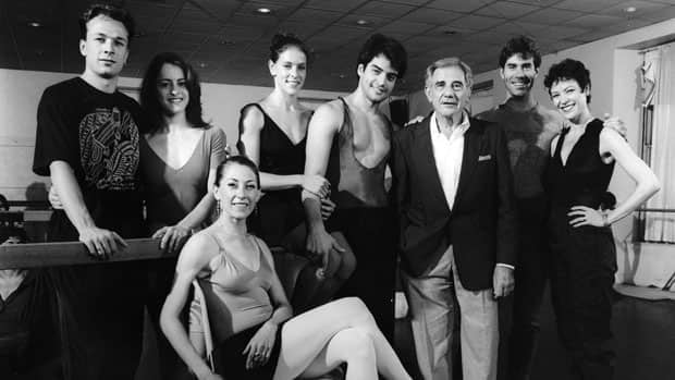 Walter Carsen (in jacket) appears with the leads of the National Ballet's 1992 production of The Taming of the Shrew: (from left) Pierre Quinn, Martine Lamy, Gizella Witkowsky (seated), Sarah Green, Rex Harrington, Serge Lavoie and Karen Kain.