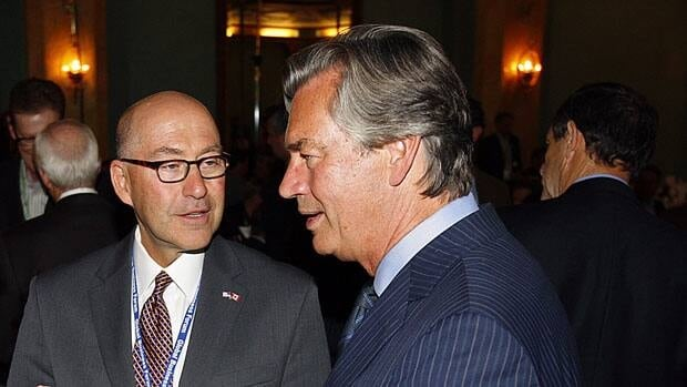 David Jacobson, now the former U.S. ambassador to Canada, left, was at an event with Canada's ambassador to the U.S. Gary Doer in September 2012, in Banff, Alberta. The two men became friends since appointed to their positions in 2009 and Doer hosted a farewell party for Jacobson in Washington.