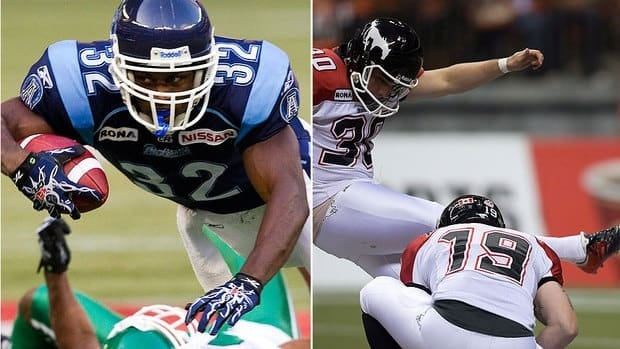 Should Stampeders' Rene Paredes, right, be named Grey Cup most valuable Canadian on Sunday, it will mark the 13th time a kicker has won the award. Argos running back Andre Durie, left, is also a threat to be the Canadian player of the game.