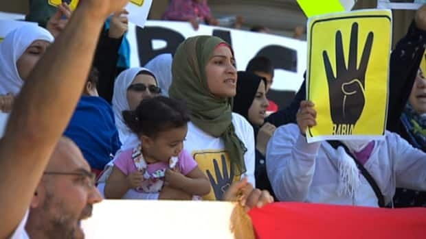 More than 150 people gathered outside the Alberta Legislature building Sunday to speak out against the ongoing violence in Egypt.