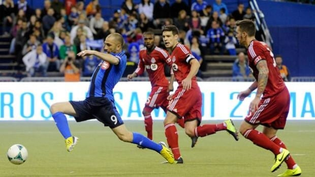 Marco Di Vaio, left, of the Impact is tied for the league lead with 11 goals this season.