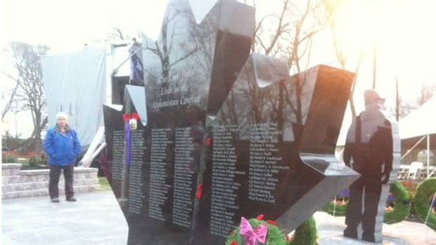 Families and veterans gathered Saturday in a park near CFB Trenton, Ont., for the unveiling of a memorial in honour of Canadian soldiers who have died in Afghanistan.