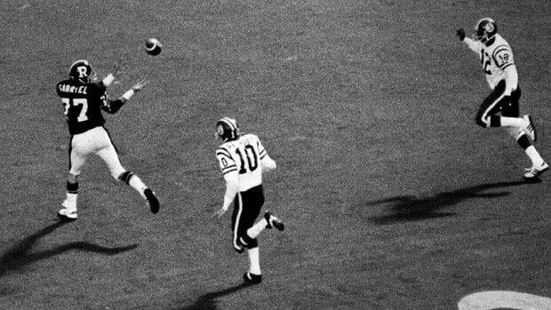 Tony Gabriel of the Ottawa Rough Riders makes the game-winning catch against Saskatchewan in the 1976 Grey Cup.