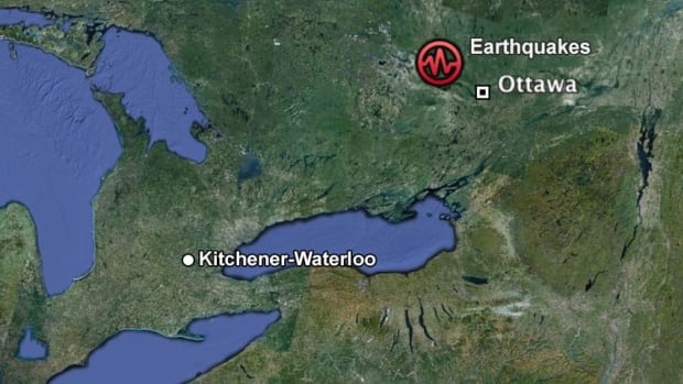 A map showing the earthquakes near Ottawa in relation to Kitchener-Waterloo.