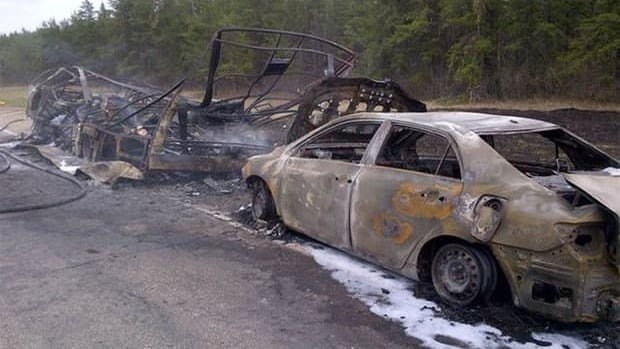 A motorhome was completely destroyed after a fire on Highway 1.