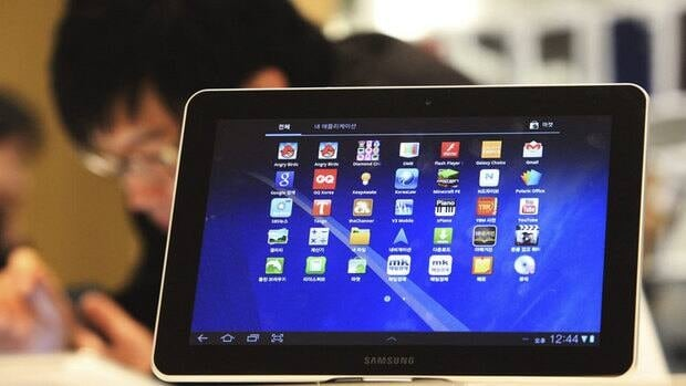 A Samsung Electronics' Galaxy Tab 10.1 is displayed at the showroom of its headquarters in Seoul, South Korea.