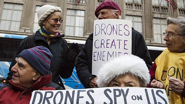 Members of the group Grandmothers Against War protest against U.S. drone strikes in New York in April 2013. Court challenges have also been brought against Washington's drone use.