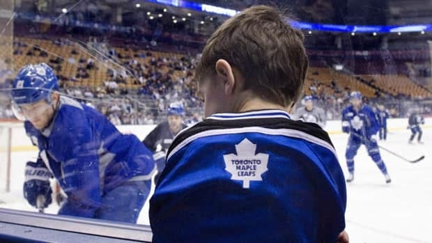 Four-year-old Sam Leet was among the fans waching the Maple Leafs practise at the Air Canada Centre in Toronto on the morning of Jan. 17, 2013.