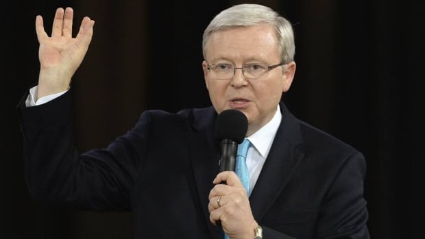 Australian Prime Minister Kevin Rudd talks during the People's Forum with opposition leader Tony Abbott in Sydney on August 28. Australia will hold a federal election on September 7.
