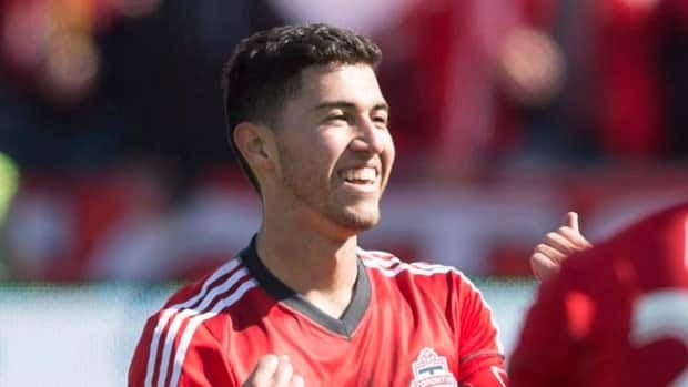Toronto FC midfielder Jonathan Osorio celebrates a goal against Los Angeles in March.