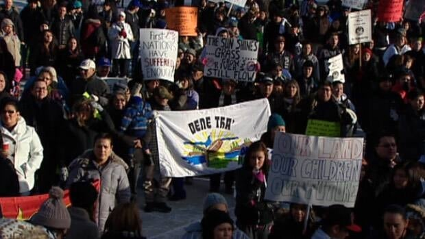 Hundreds turned out for the Idle No More protest in Churchill Square on Monday.