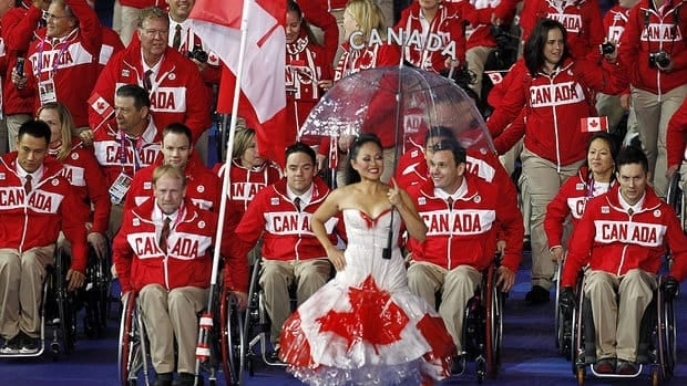 Canada's delegation parades during the opening ceremony of the London Paralympic Games at the Olympic Stadium on Wednesday.