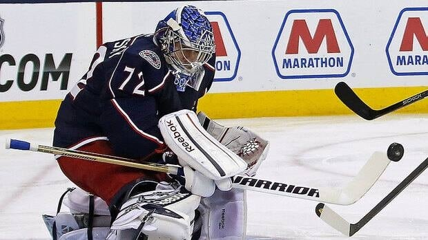 Blue Jackets head coach Todd Richards says the willingness of Sergei Bobrovsky, shown here, to stand taller in net with traffic in front of him has been a big reason for the goalie's success this season. He is fifth among NHL goalies in goals-against average and second in save percentage.