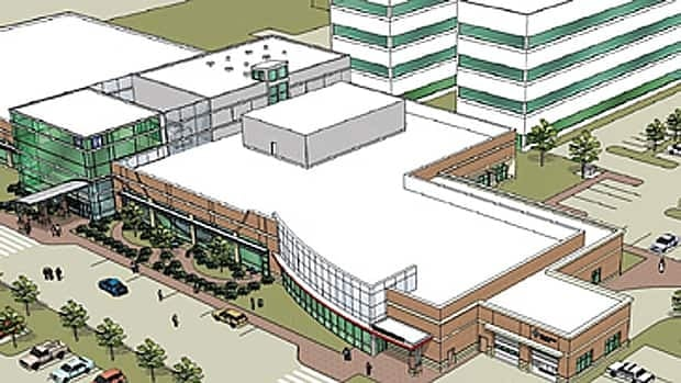 A rendering of the Strathcona Community Hospital showing both phases. The second phase was abandoned in Thursday's provincial budget.