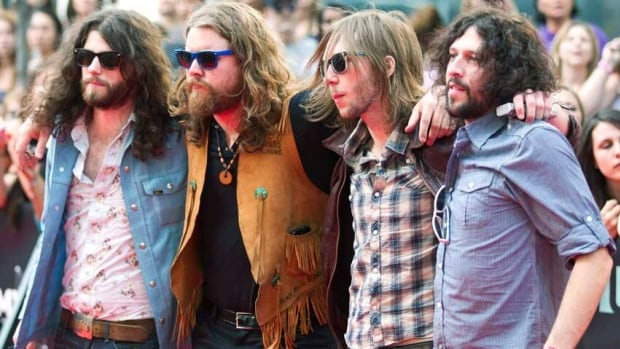 The Sheepdogs' guitarist Leot Hanson (far right) is leaving the band.