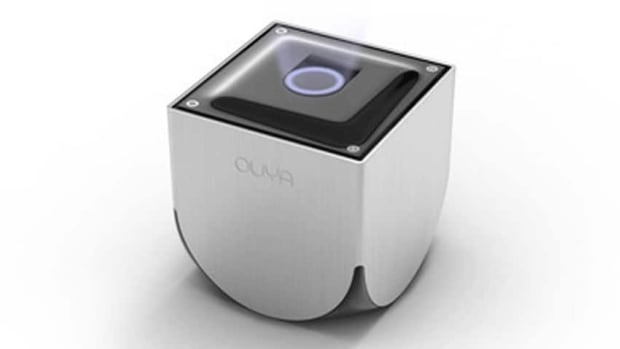 The small Ouya console, above, comes with 8 GB of internal storage, 1 GB of RAM and a wireless controller. Thanks to its open-source design, users will be able to tweak both the software and hardware to their specifc needs. The unit will sell for $99 US.