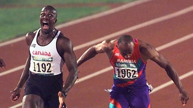 Donovan Bailey (left) reached the top of his craft when he crossed the finish line to win the 100-metre final with a world-record time of 9.84 seconds.