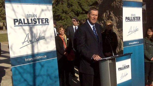Brian Pallister announces his leadership candidacy at The Forks in Winnipeg on Wednesday.