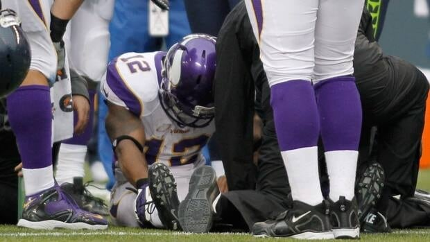 Minnesota Vikings' wide receiver Percy Harvin, centre, was injured against the Seattle Seahawks on Sunday, Nov. 4, 2012. Harvin has been placed on injured reserve and will miss the remainder of the season.