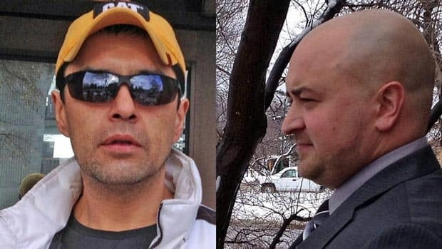 Const. Brian Bellefeuille (right) was found not guilty of assaulting Gary Megan (left). The charges stemmed from an altercation in a Geraldton jail cell in February 2011.