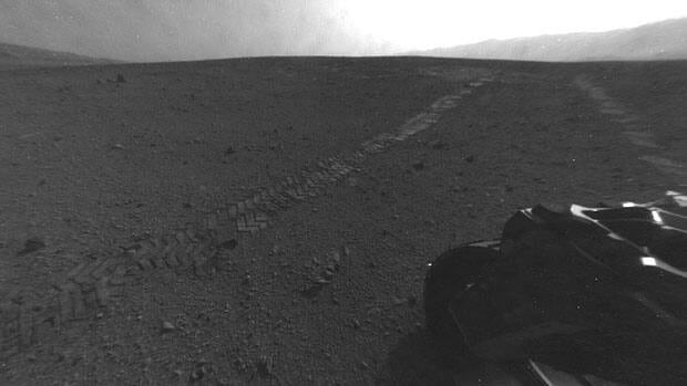 On Tuesday, during the 22nd Martian day, or sol, NASA's Curiosity rover began its trek eastbound, the longest drive of the mission so far. The drive imprinted the wheel tracks visible in this image.