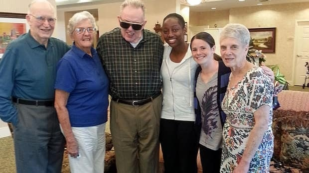 When Robyn Gayle (third from right) and Diana Matheson (second from right) aren't on the pitch with the National Women's Soccer League's Washington Spirit, they're hanging out at home with their neighbours at a seniors residence in Rockville, Maryland.