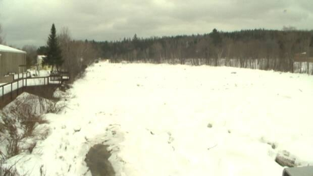 A thick layer of ice continues to block a portion of the Nashwaak River in the community of Stanley.