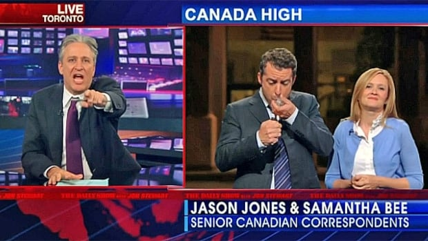Canadian-born correspondents Jason Jones and Samantha Bee pretended to smoke crack, claiming it was 'one of Canada's most cherished pastimes' during a 2013 segment about Toronto Mayor Rob Ford.