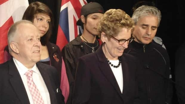 File photo of Ontario Premier Kathleen Wynne and Liberal MPPs for the region, Michael Gravelle (left) and Bill Mauro (right).