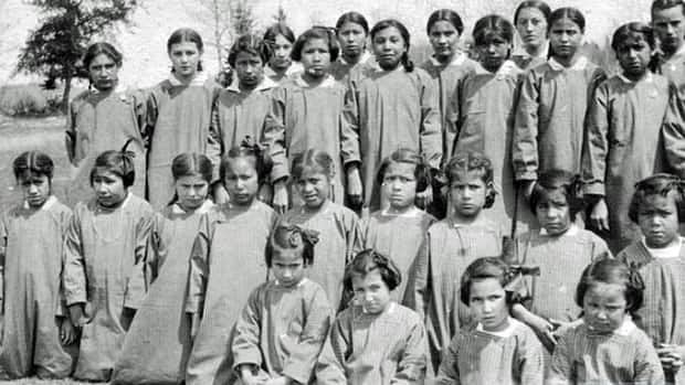 Girls at St. Mary's residential school in Kenora, in a photograph dated 1921.