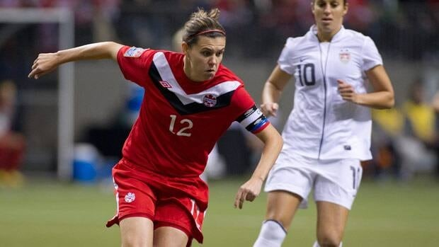 Christine Sinclair, seen in a 2012 friendly, was suspended by FIFA in connection with the aftermath of the Olympic semifinal match against the United States.