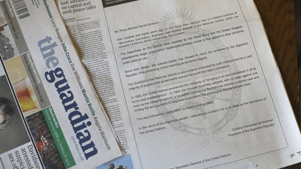 An open letter from Argentinian President Cristina Fernandez de Kirchner to British Prime Minister David Cameron, published in the British newspaper The Guardian, calls for the U.K. to relinquish control of the Falkland Islands. The ad was published in Thursday's edition.