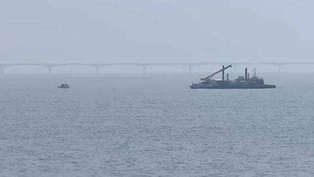 The barge Maritme Electric crews are using to repair an underwater cable is back in the water.
