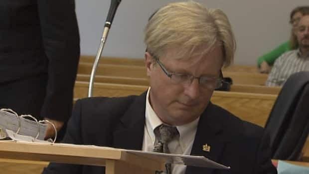 Brad Cabana questioned Gilbert Bennett, Nalcor's vice-president in charge of Muskrat Falls, about a water management agreement in Supreme Court in St. John's on Tuesday.