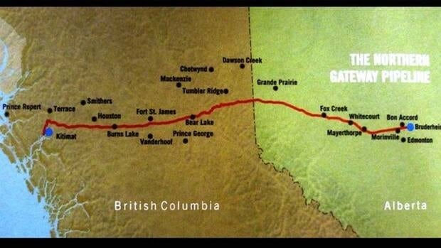 Enbridge Inc. is proposing the pipeline to run from the oil sands to Kitimat, B.C.